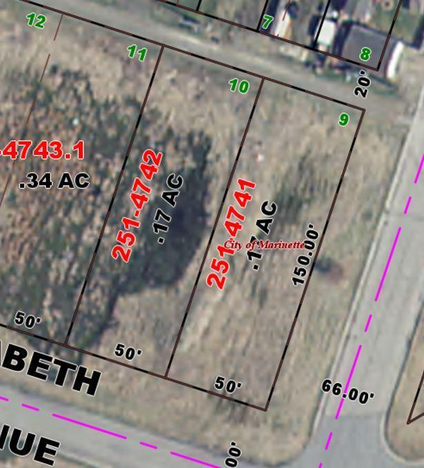 View Vacant Land For Sale at .17  Acres Elizabeth ST, Marinette, WI