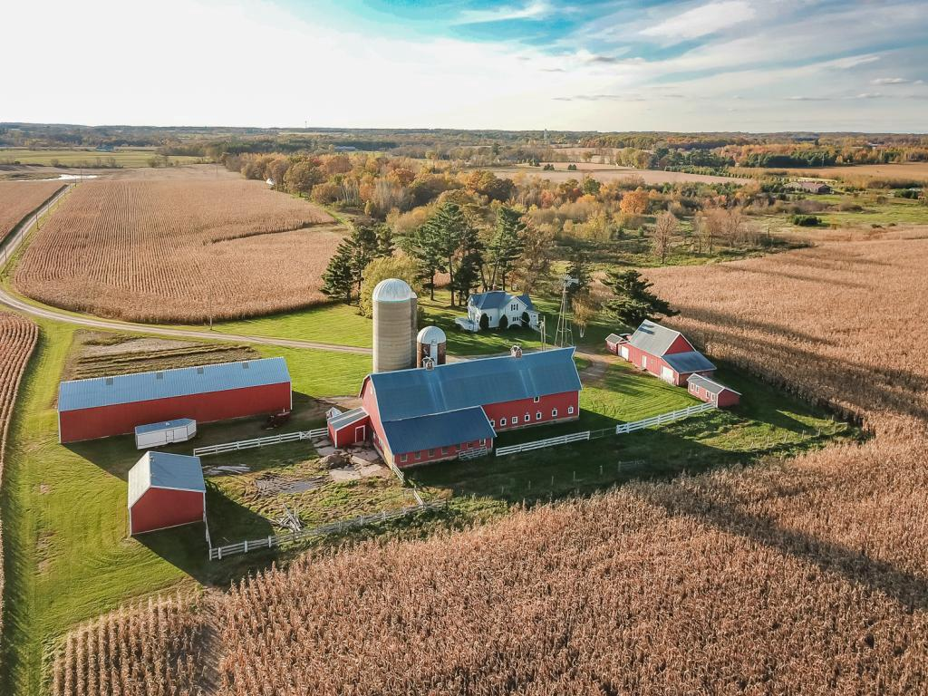 Wow! Look at this meticulously maintained farm with home, multiple outbuildings including barn/silos and 184 acres of land. The possibilities are endless . . . hobby farm, air B&B, Bed & Breakfast, your own private retreat. Beautiful setting with frontage on a small private lake. Tillable acreage currently rented by the year. Buildings have steel siding and newer metal roofs. Newer well, septic, furnace! This is a beautiful serene setting . . . come and relax! Please call today for your private viewing.