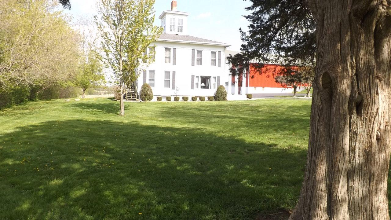 Large square house with great lawn, also 11 acres of farm land.  House has outside stairs so may be a 2 flat.