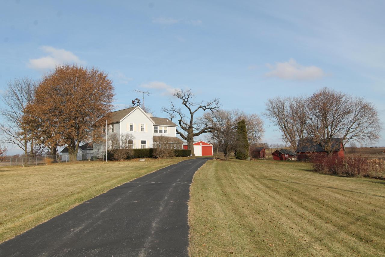 Farm on 79+ acres includes 3 bedroom 2 bath home with 2 car detached garage with several outbuildings and a pole barn with 5 box stalls.  Great tillable land zoned A-1. Great location south of Burlington close proximity to Bong Recreational area.