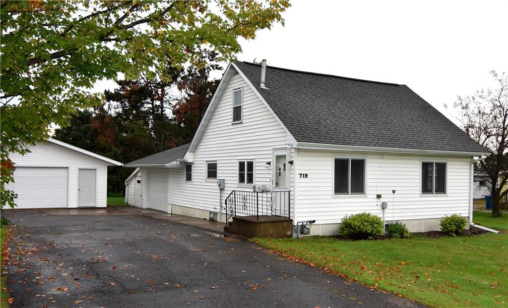 Charming family home located on the out skirts of Barron with the advantage of natural gas, city water and sewer! Open kitchen/dining space with great natural light, huge entryway with laundry off of attached garage, and spacious bedrooms. Unfinished lower level could be finished for extra family space, office, or install an egress window for additional bedroom! Enjoy low maintenance living with vinyl siding, newer furnace, and drain tile in basement. Plenty of room for all of your storage and hobby needs with attached insulated 1 car garage with 15x11 lean to and detached 24x24 garage! Set back on a roomy double lot with turn around drive!