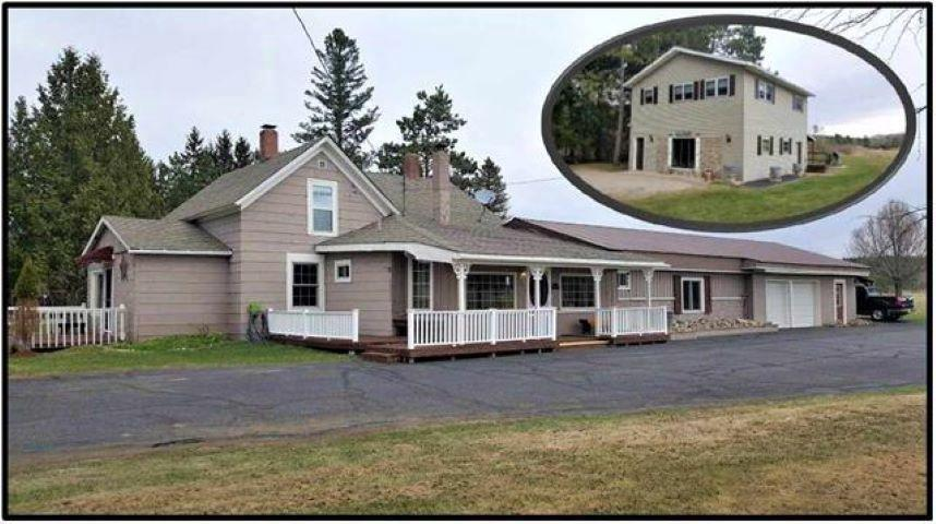 Hobby Farm in the ''Northwoods''. Self Sufficient living with 31.78 acres of farmland for growing your own crops and grazing for your animals. Perfect location for your horses. Borders thousands of acres county forest land for horseback riding. 5br farmhouse style home with 3ba, covered front porch, attached 2 car garage and 2 outbuildings that could be used for chickens or storage. In addition, for extra income, guests, or extra living area is the 5br, 2ba, 1100 sq. ft guest cottage. Current owners used it for a vacation rental w/good rental income. Property has direct access to ATV and snowmobile trails. This property has a multitude uses with income potential. At $239,900, this is a bargain price, don't wait!