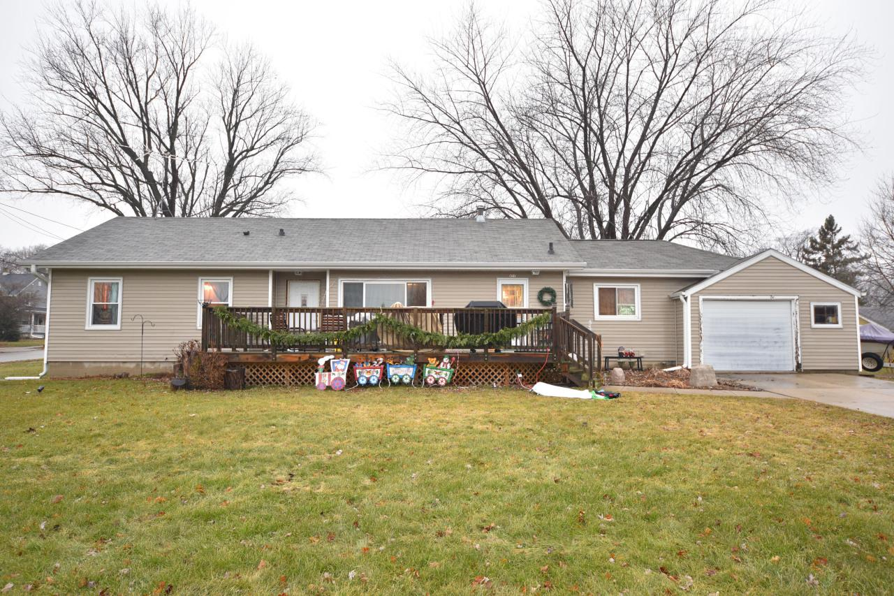 Affordable and well cared for 1169 square foot ranch home on a triple lot in the City of Hartford.  Located on the corner of Linden and Wheelock, .40 acres.  Main level has 2 bedrooms, full bath, step saver kitchen, living room and a formal dining room that could be an office or a third bedroom with a huge closet used as a pantry.  Main level also has a huge mudroom, laundry, office combo area connecting the attached 1.5 car garage.  Move in ready home is small and affordable, a great home or investment.  Patio in the back yard, deck in the front on a triple lot.  Many updates over the years including roof, siding, most windows, kitchen cabinets, counters, backsplash, and furnace.  This is a nicely cared for home.